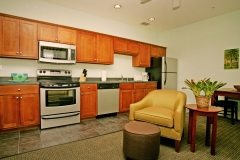 Kitchen and living room area with stainless steel appliances at Third and Main.