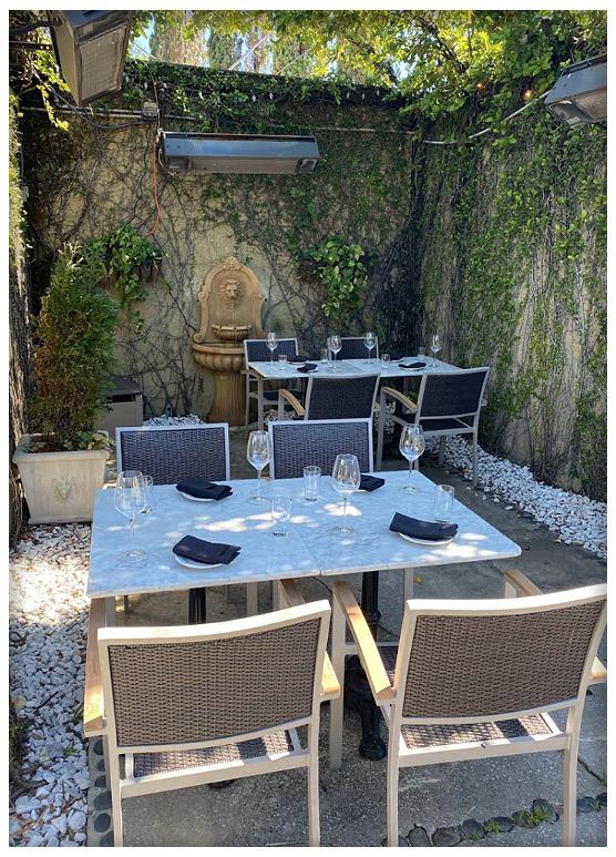 Bistro X, Bar X, private event patio, wine glasses