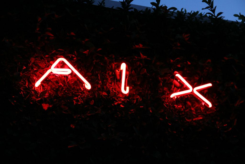 red neon sign, AIX