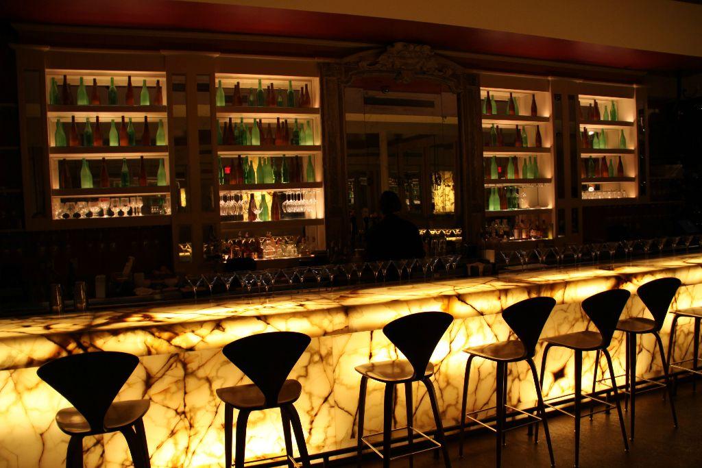 Bar X, backlit marble slab full bar