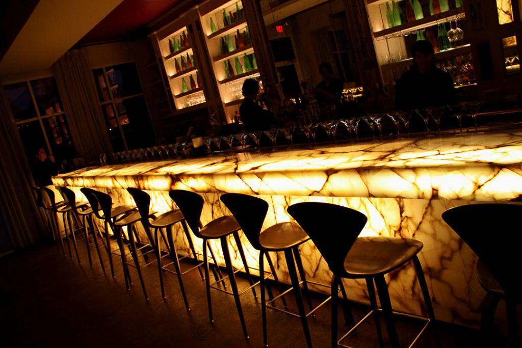 Bistro X, Bar X, backlit marble slab full bar