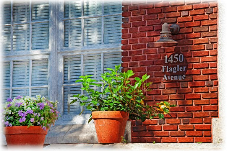 oil painting, front entrance to 1450 Flagler Avenue