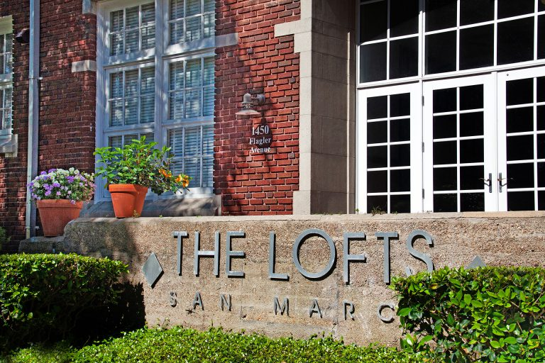 Front entrance sign to The Lofts San Marco