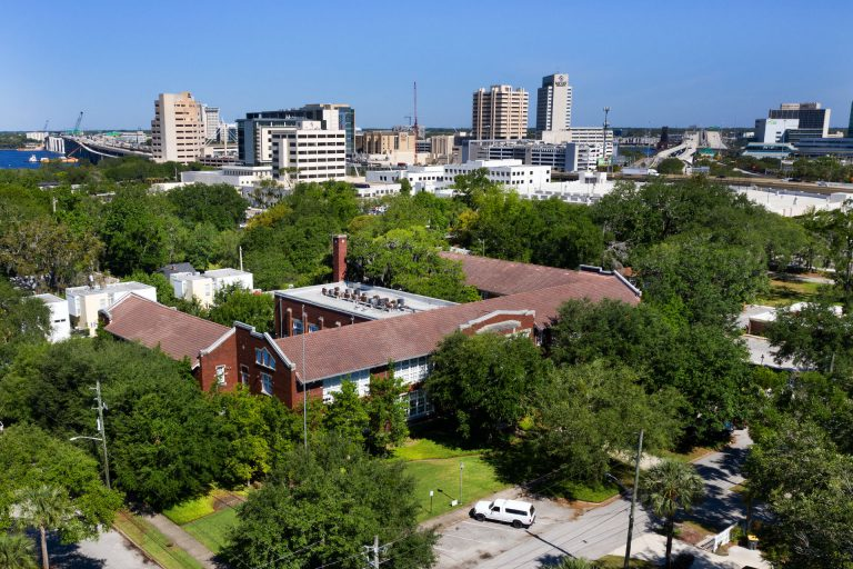 Drone view of The Lofts San Marco and downtown Jacksonville